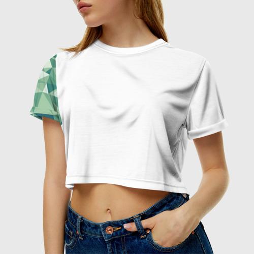 Женская футболка Crop-top 3D Зеленые полигоны Фото 01