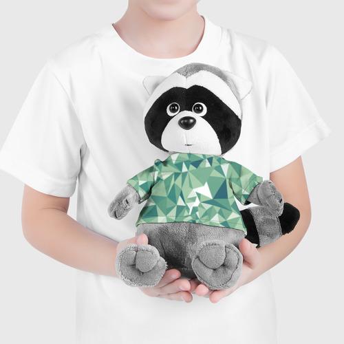 Енотик в футболке 3D Зеленые полигоны Фото 01