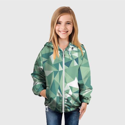Детская ветровка 3D  Фото 04, Зеленые полигоны