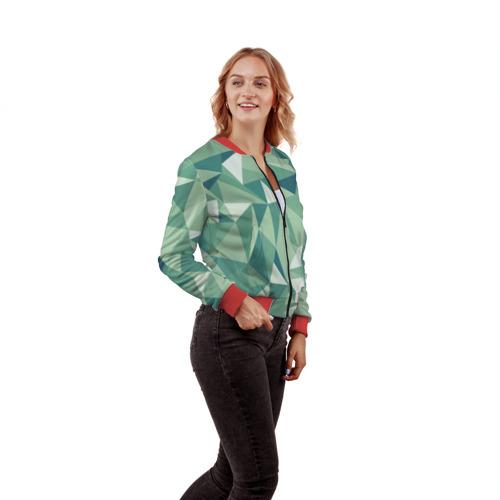 Женский бомбер 3D Зеленые полигоны Фото 01