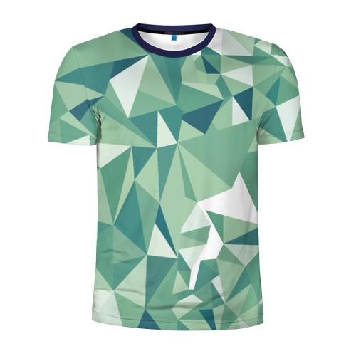Мужская футболка 3D спортивная Зеленые полигоны Фото 01