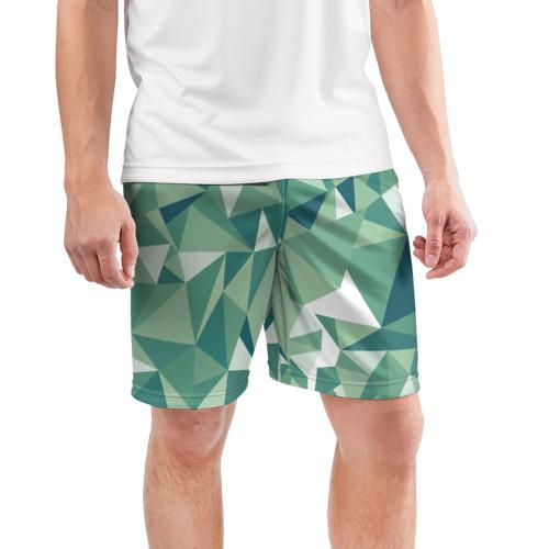 Мужские шорты 3D спортивные  Фото 03, Зеленые полигоны