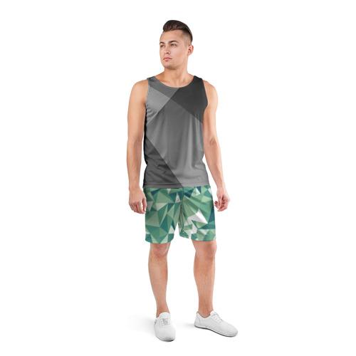 Мужские шорты 3D спортивные  Фото 04, Зеленые полигоны