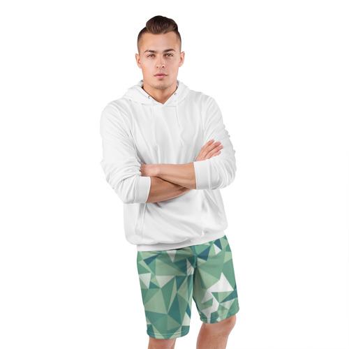 Мужские шорты 3D спортивные  Фото 05, Зеленые полигоны