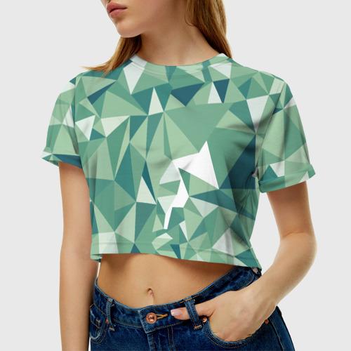 Женская футболка Cropp-top Зеленые полигоны Фото 01