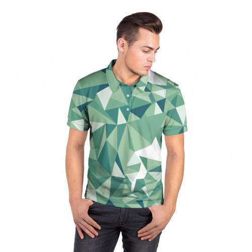 Мужская рубашка поло 3D Зеленые полигоны Фото 01