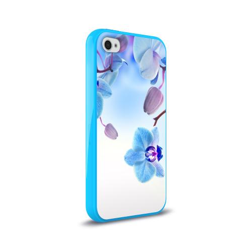 Чехол для Apple iPhone 4/4S силиконовый глянцевый Голубая орхидея Фото 01