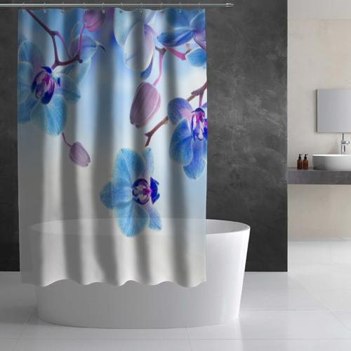 Штора 3D для ванной Голубая орхидея Фото 01