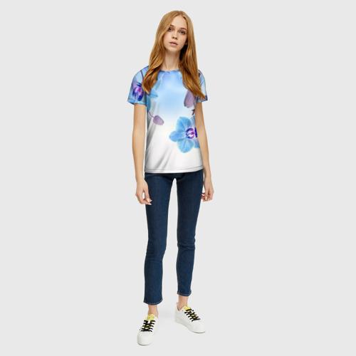 Женская футболка 3D Голубая орхидея Фото 01