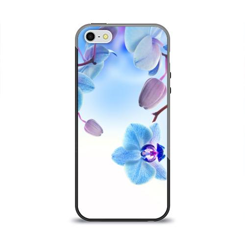 Чехол силиконовый глянцевый для Телефон Apple iPhone 5/5S Голубая орхидея