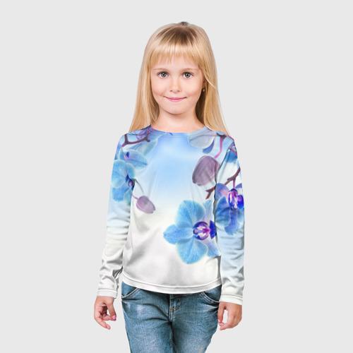 Детский лонгслив 3D Голубая орхидея Фото 01
