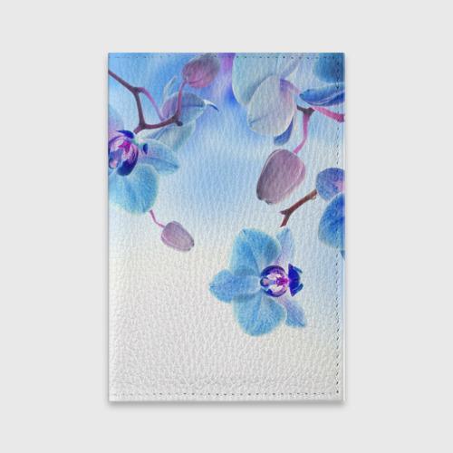 Обложка для паспорта матовая кожа Голубая орхидея Фото 01