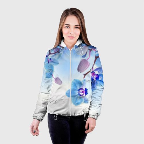 Женская куртка 3D Голубая орхидея Фото 01