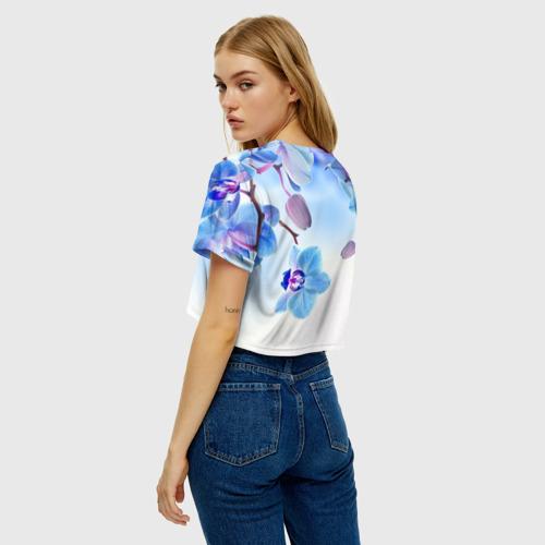 Женская футболка Crop-top 3D Голубая орхидея Фото 01