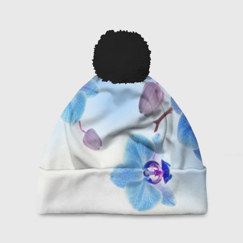 Шапка 3D c помпоном Голубая орхидея Фото 01