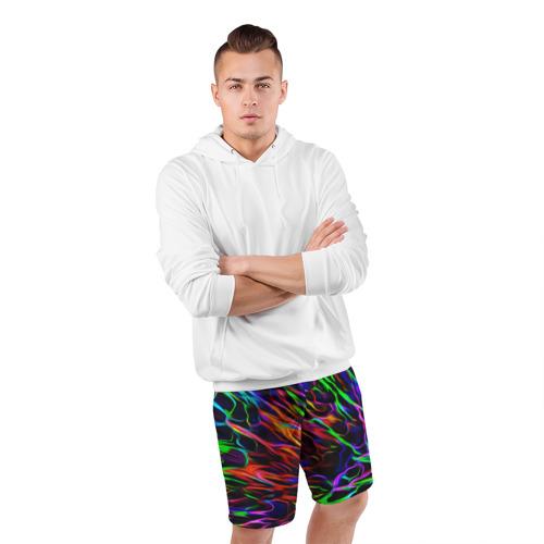Мужские шорты спортивные Разноцветные разводы Фото 01