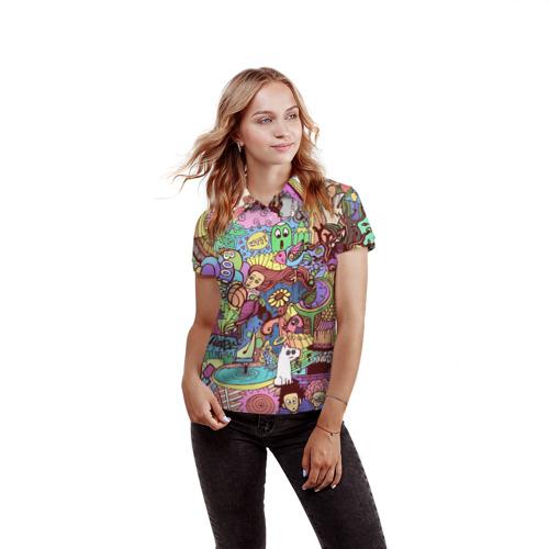 Женская рубашка поло 3D  Фото 03, абстракция