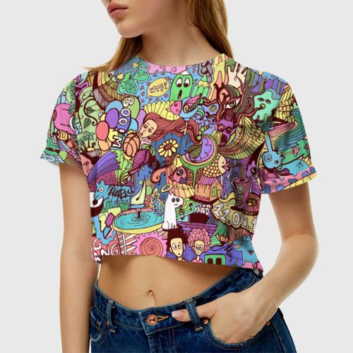Женская футболка 3D укороченная  Фото 01, абстракция