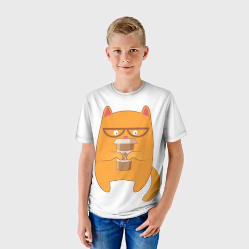 Детская футболка 3D Кот хипстер