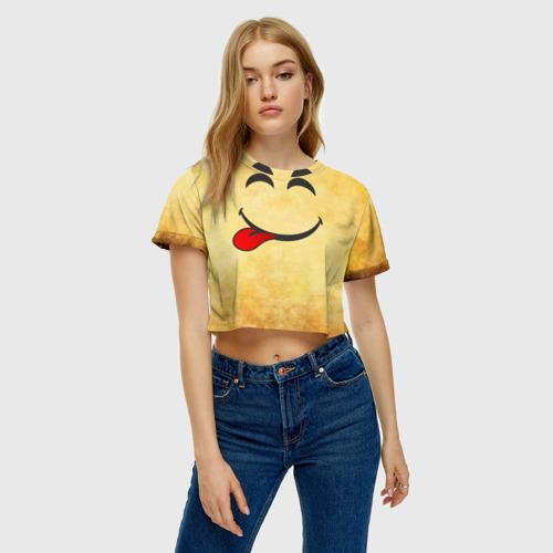 Женская футболка 3D укороченная  Фото 04, Мы на позитиве (L)