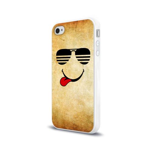 Чехол для Apple iPhone 4/4S силиконовый глянцевый Смайл в очках (R) Фото 01