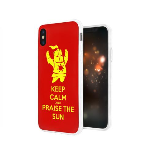 Чехол для Apple iPhone X силиконовый глянцевый  Фото 03, Keep calm and praise the sun