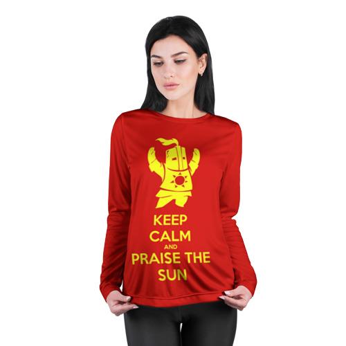 Женский лонгслив 3D для беременных  Фото 04, Keep calm and praise the sun