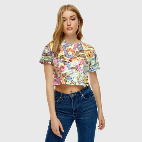 Женская футболка 3D укороченная  Фото 04, Надписи