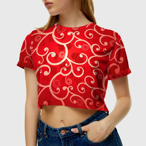 Женская футболка 3D укороченная  Фото 01, Любовь
