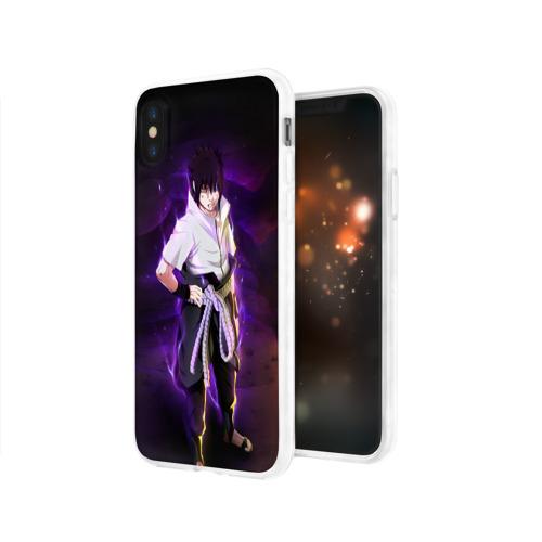 Чехол для Apple iPhone X силиконовый глянцевый Наруто (Sasuke Uchiha) Фото 01