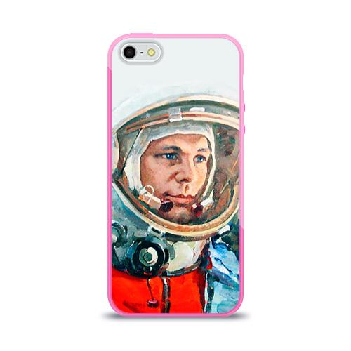 Чехол для Apple iPhone 5/5S силиконовый глянцевый Гагарин Фото 01