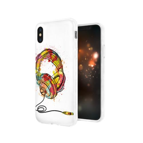 Чехол для Apple iPhone X силиконовый глянцевый  Фото 03, Красочные наушники