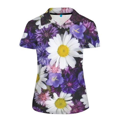 Женская рубашка поло 3D Полевые цветы 8