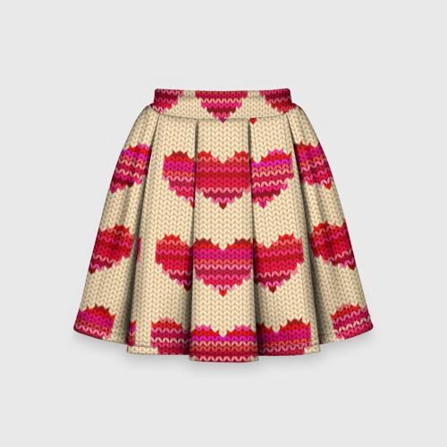Детская юбка-солнце 3D Шерстяные сердечки