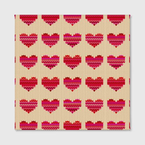 Холст квадратный  Фото 02, Шерстяные сердечки