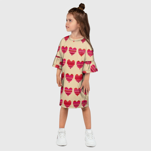 Детское платье 3D  Фото 03, Шерстяные сердечки