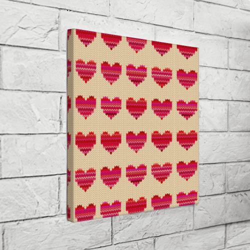 Холст квадратный  Фото 03, Шерстяные сердечки
