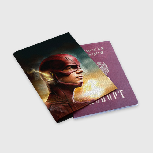 Обложка для паспорта матовая кожа  Фото 03, Флеш супергерой