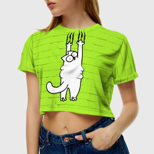 Женская футболка 3D укороченная  Фото 01, Simon's cat 3