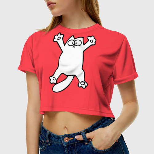Женская футболка 3D укороченная  Фото 01, Simon's cat 5
