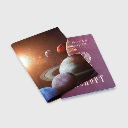 Обложка для паспорта матовая кожа Планеты солнечной системы Фото 01
