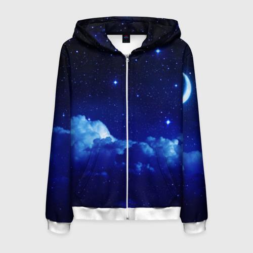 Мужская толстовка 3D на молнии Звёздное небо Фото 01
