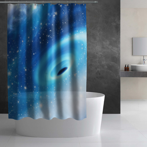 Штора 3D для ванной Неизведанная галактика Фото 01