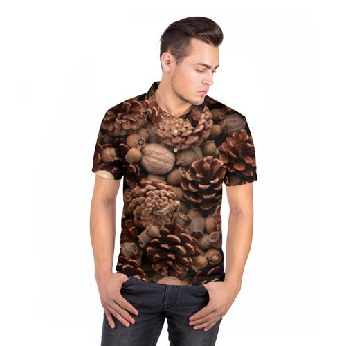 Мужская рубашка поло 3D  Фото 05, Шишки и орешки