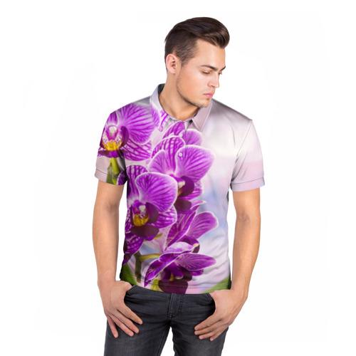 Мужская рубашка поло 3D Божественная орхидея Фото 01