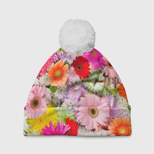 Шапка 3D c помпоном Обилие цветов