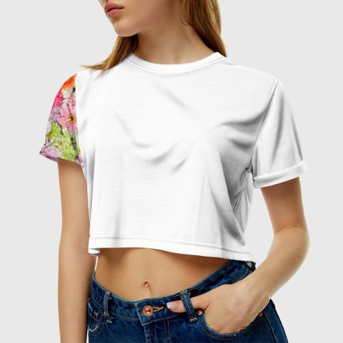Женская футболка 3D укороченная  Фото 01, Обилие цветов