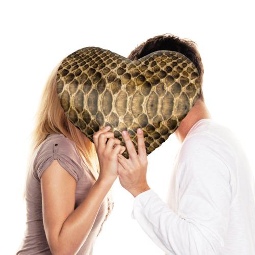Подушка 3D сердце  Фото 03, Змеиная кожа