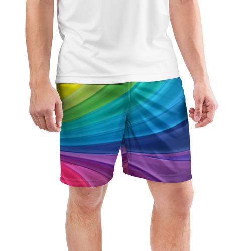 Мужские шорты 3D спортивные  Фото 03, Радуга