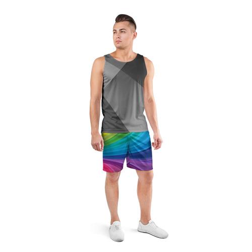 Мужские шорты 3D спортивные  Фото 04, Радуга